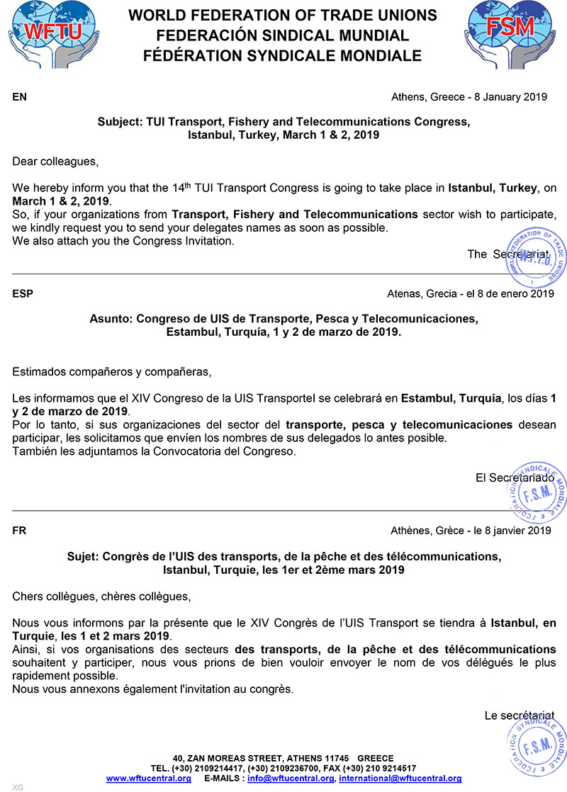 2019_1_8_TUI TRANSPORT_WFTU SECRETARIAT REMINDER ON THEIR CONGRESS_ENG ESP FR.jpg